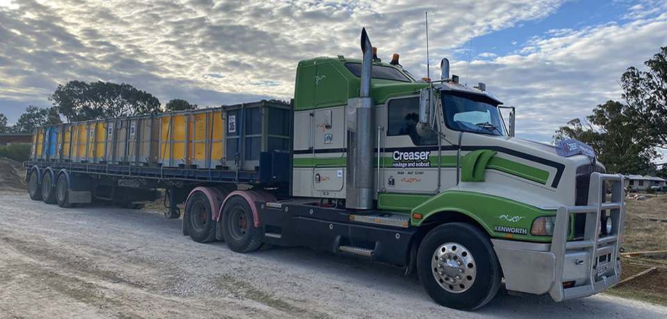 Creaser Haulage and Bobcat provide grape cartage from the vineyards to the wineries in South Australia.